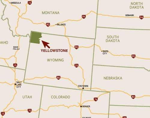Yellowstone Map USA zoomed