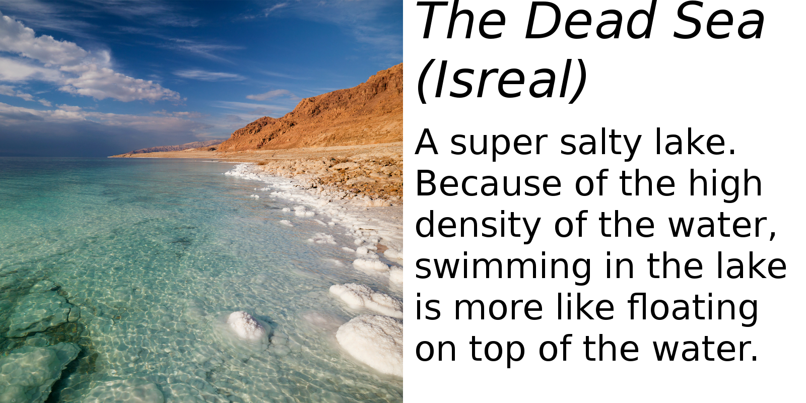 The Dead Sea, Isreal (description) #2