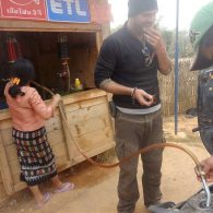 Laos - filling up the moped